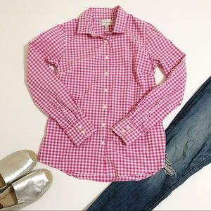 J Crew Pink Gingham Perfect Fit Button Down 4